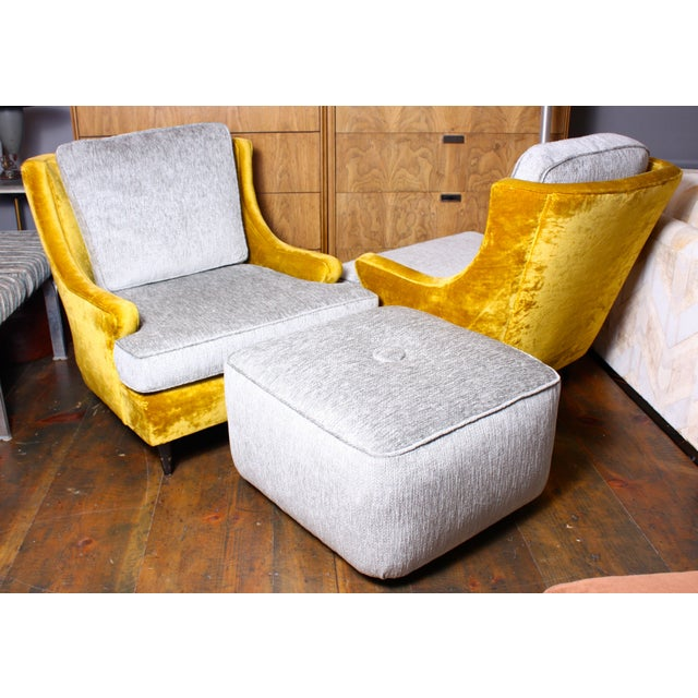 American Modern Lounge Chairs & Ottoman - A Pair - Image 2 of 7