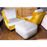 Image of American Modern Lounge Chairs & Ottoman - A Pair