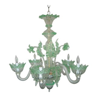 Chandelier of Murano Glass in Clear/Green