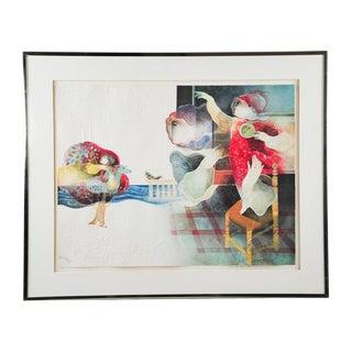 """Original Sunol Alvar Embossed Lithograph """"La Fantaisie"""""""