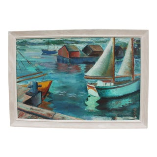 1960s Vintage Rural Harbor Painting By Krselih
