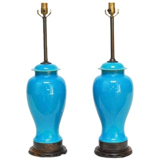 Pair of Chinese Porcelain Sky Blue Ginger Jar Lamps