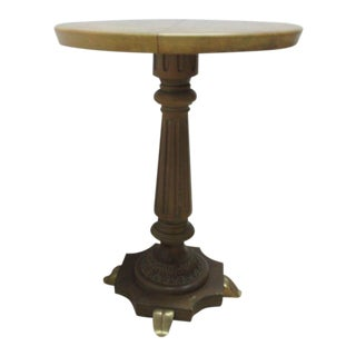 Vintage Brass Faux Paint Marble French Regency Side Table