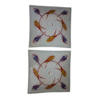 Square Ceiling Light Shades With Parakeets - A Pair