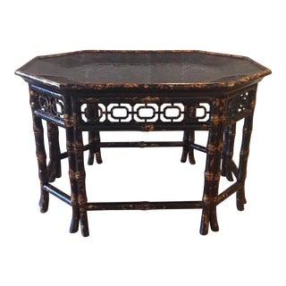 Vintage Maitland Smith Bamboo Tortoise Shell Coffee Table