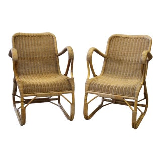 French Rattan Bentwood Style Armchairs - A Pair