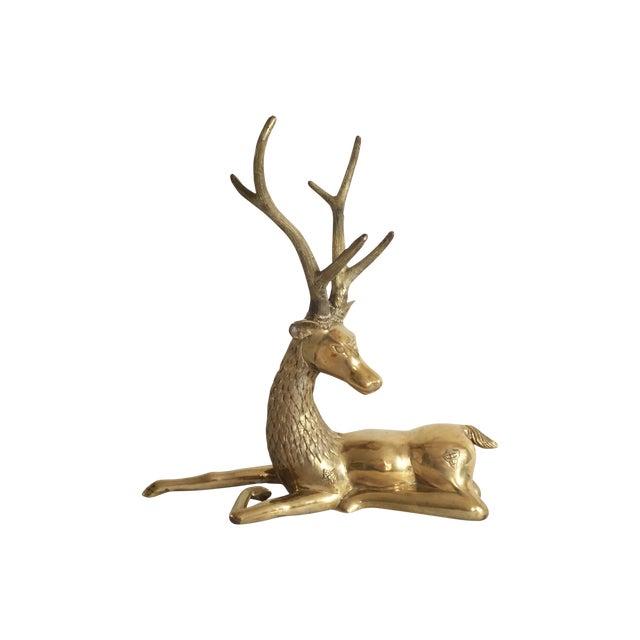 Ornate Seated Brass Deer Figure - Image 1 of 3