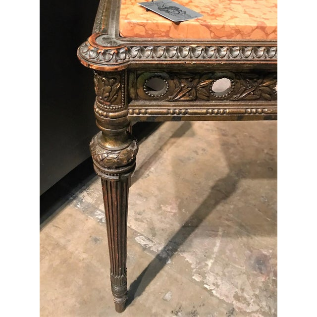 Antique 1890s French Giltwood and Marble Top Side Table - Image 2 of 4