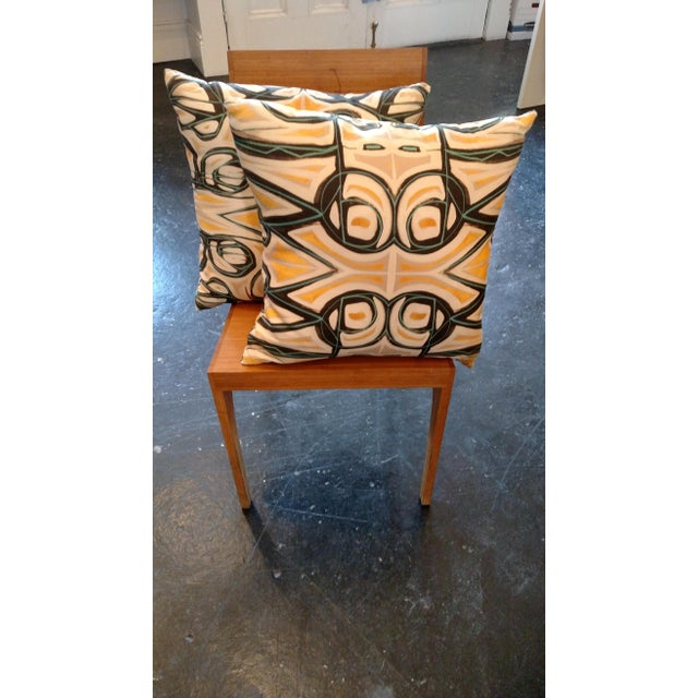 Yellow Abstract Pillow by Amanda Talley - Image 3 of 4