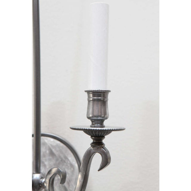 Pewter and Rock Crystal Sconces - Image 4 of 9