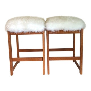 Mid-Century Sheepskin Counter Stools - A Pair