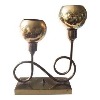 Mid Century Curvy Brass Table Lamp