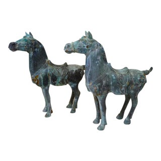 Bronze Patina Asian Horse Sculptures - a Pair