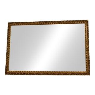 Vintage Large Italian Gold Wood Ornate Florentine Rectangular Mirror