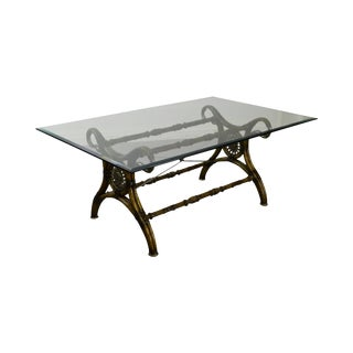 Regency Style Swan Neck X Base Glass Top Dining Table