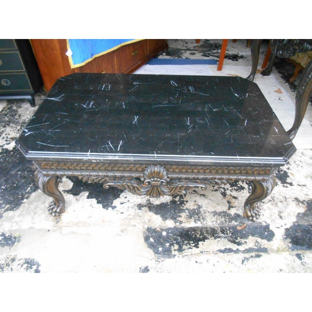 French Rococo Style Carved Wood Marble Coffee Table Chairish