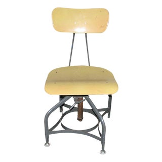 Vintage Toledo Industrial Adjustable Yellow Stool