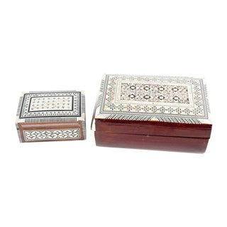 Inlaid Wood Jewelry Boxes - A Pair