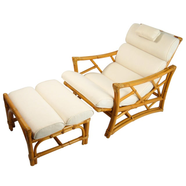 1950 39 s rattan chaise lounge ottoman a pair chairish for 1950s chaise lounge
