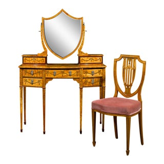 Sheraton Revival Satinwood Dressing Table And Chair