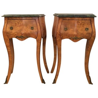 Sublime Pair of French Burl Wood and Green Marble Nightstands