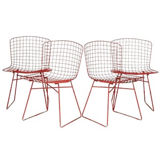 Knoll-Style Wire Metal Chairs - Set of 4