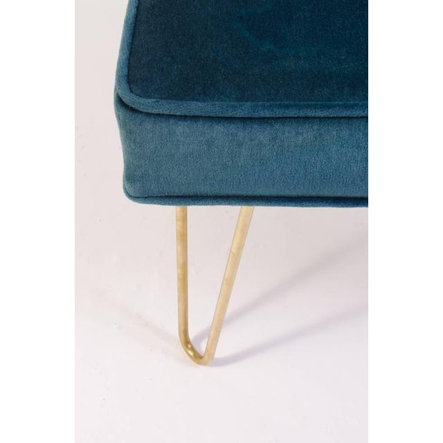 Petite Brass Hairpin Ottomans in Teal Velvet by Montage - Image 7 of 8