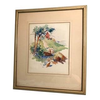 Frederick Montague Charman Impressionist Landscape Watercolor
