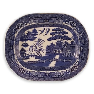 Antique Staffordshire Blue Willow Platter