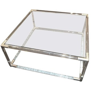 Tubular Lucite and Chrome Coffee Table