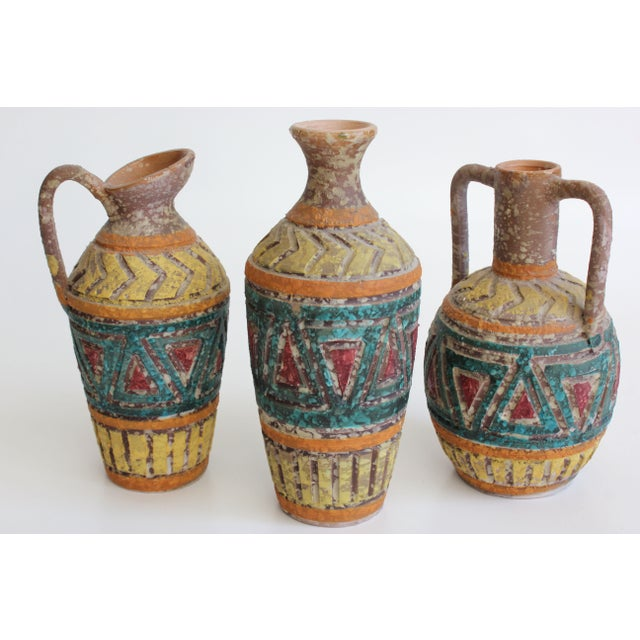 Geometric Incised Italian Art Pottery - Set of 3 - Image 2 of 7
