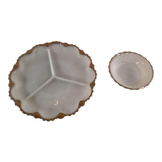 Mid-Century Milk Glass With Gold Trim Tray & Bowl - A Pair