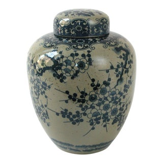 Gray and Blue Cherry Blossom Ceramic Ginger Jar with Lid