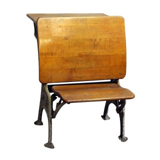 Vintage Folding School Row Desk