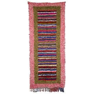 Moroccan Boucherouite Rag Carpet - 4′ × 9′5″