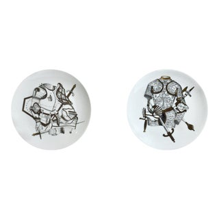 Pair of Piero Fornasetti Plates with Antique Coats of Armour, Armature Pattern