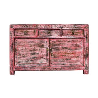 Oriental Distressed Rustic Pink Credenza Sideboard Buffet Table Cabinet