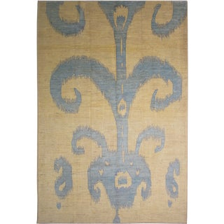 Aara Rugs Hand Knotted Modern Ikat Rug - 14' X 10'