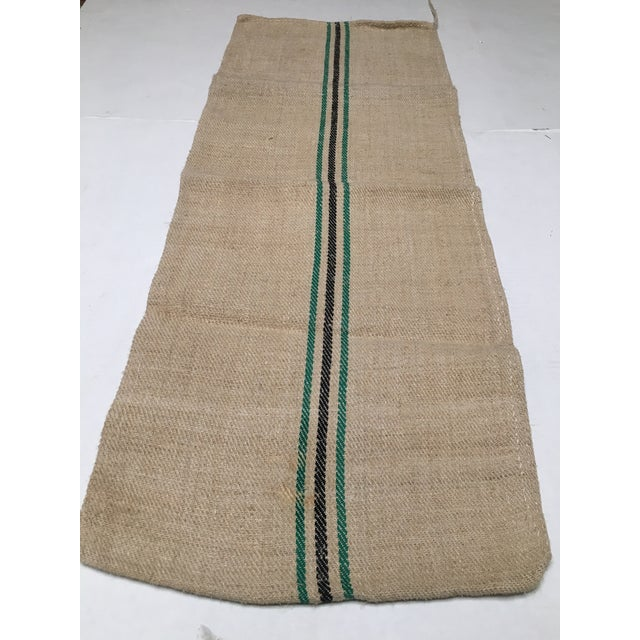 Vintage Green Stripe European Grain Sack - Image 5 of 7
