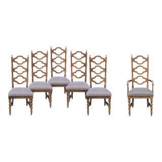 Newly Upholstered Quatrefoil Dining Chairs - Set of 6
