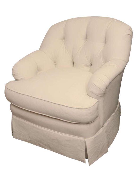 Ivory Tufted Swivel Chair