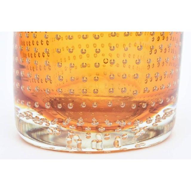 Heavy Bullecante Italian Murano Seguso Glass Vase or Candleholder - Image 7 of 8