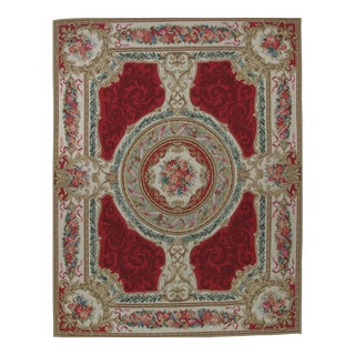French Aubusson Design Hand Woven Red Floral Medallion Wool Rug - 8' X 10'