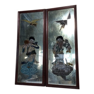 Mirror Backed Chinese Export Paintings - A Pair