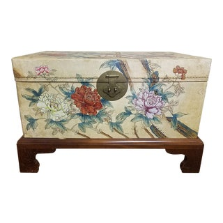 Painted Pigskin Trunk on Wood Stand