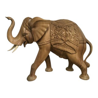 Wooden Elephant Ornamental Statue