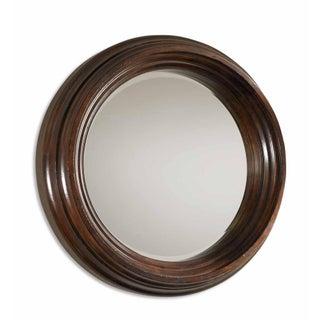 Round Dark Wood Mirror
