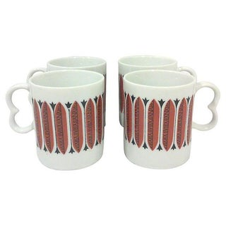 Mid-Century Japanese Red Mugs - Set of 4