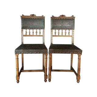 Antique 1800 French Tooled Leather Chairs - A Pair