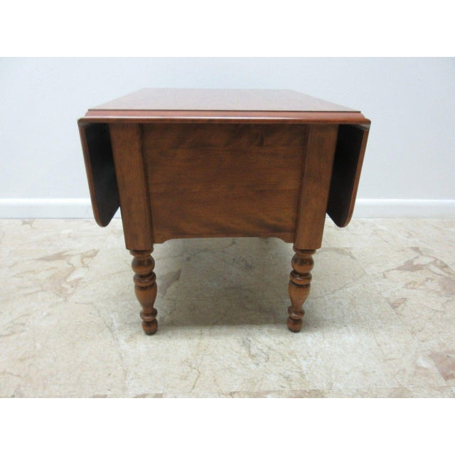 Ethan Allen Heirloom Formica Top Drop Leaf Nutmeg End Table - Image 5 of 11